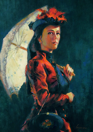 An oil painting of a woman in a red old fashioned dressed