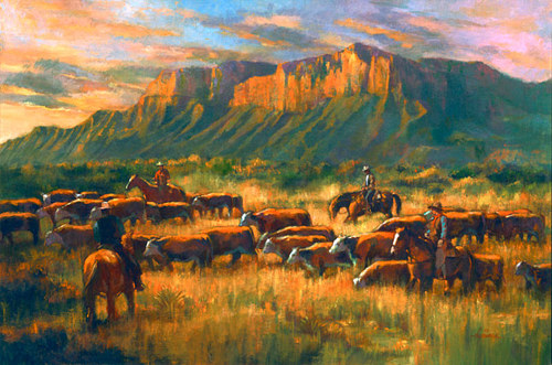 An oil painting of a cattle drive on the American prairies
