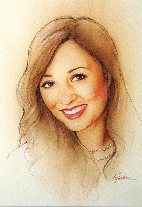 A portrait created using pencil crayons and coloured wash