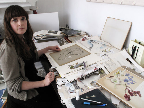 Alexis Mackenzie working in her art studio