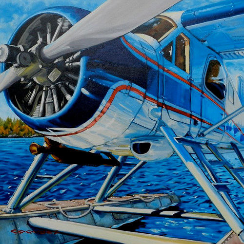 A blue-toned painting of a float plane on water