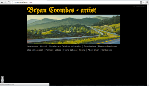 A screen capture of the front page of Brian Coombes' website