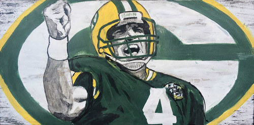 An action painting of football player Brett Favre cheering
