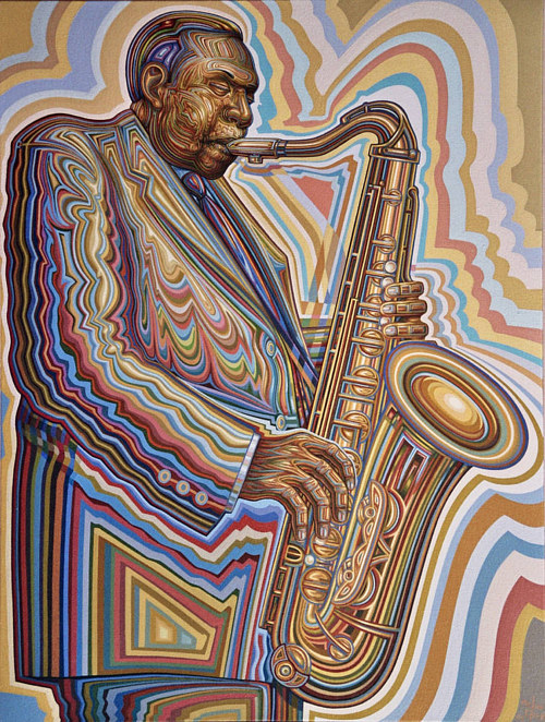 A stylized painting of a jazz musician playing the saxaphone