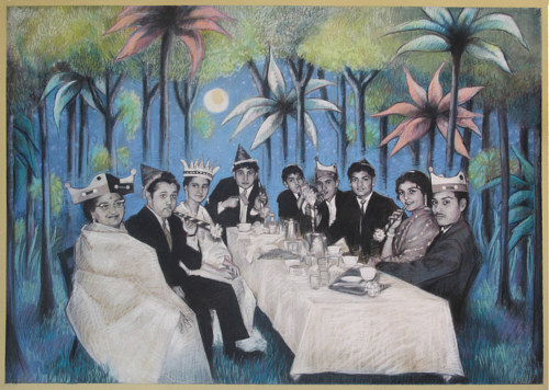 A chalk pastel drawing of a dinner party in a surreal landscape