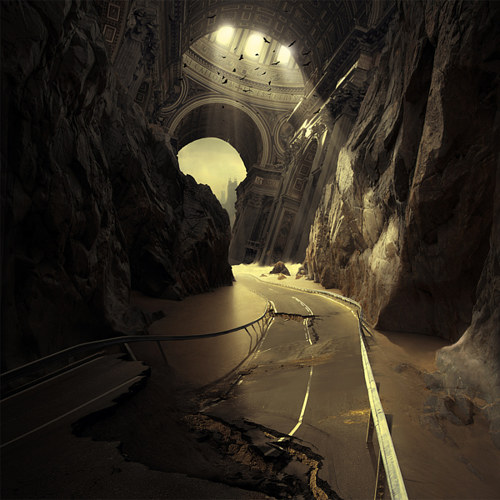 A digitally manipulated photo of a broken road under a strange architectural structure