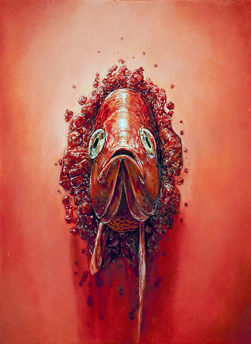 A painting of a red snapper fish emerging from a red wall