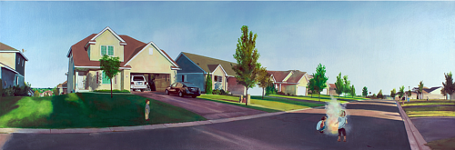 A panoramic painting of children playing in a suburban street