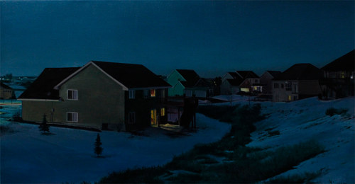 A painting of a small Minnesotan town at dusk in winter