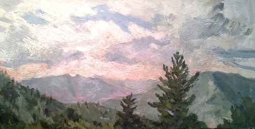 A painting of a skyline with the tops of evergreen trees