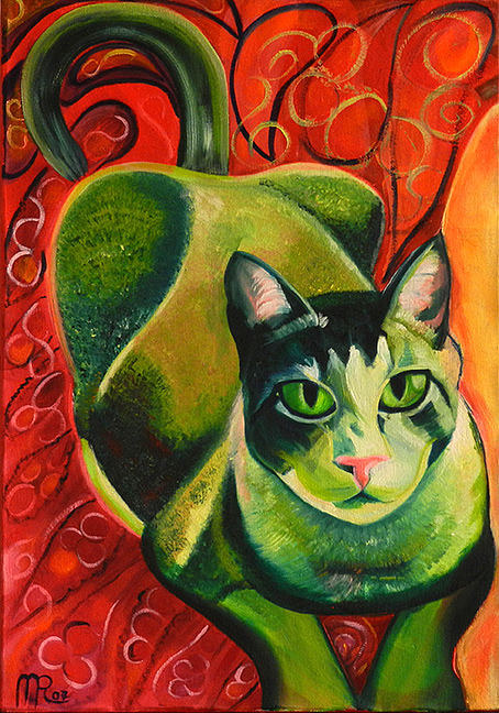 A painting of a green cat on an orange background