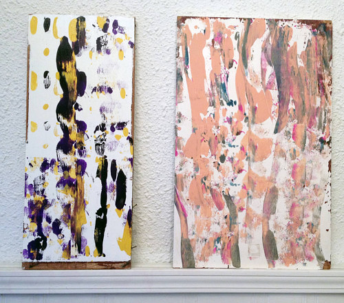 An abstract diptych creates with blobs of neutral-coloured paint