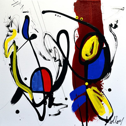An abstract painting created using only black and primary coloured paint