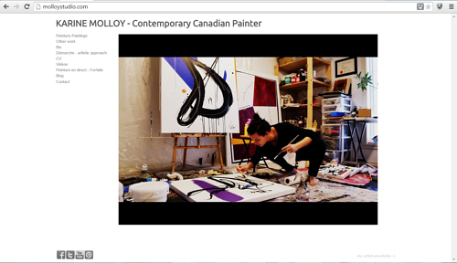 A screen capture of Karine Molloy's painting wesbite