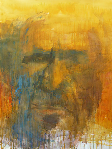 A portrait painting composed of layers of thin, drippy paint