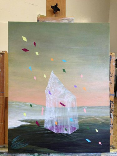 Large painting of an iceberg and confetti