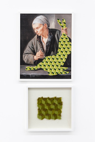 A diptych featuring a figure in a painting overlaid with patterned embroidery