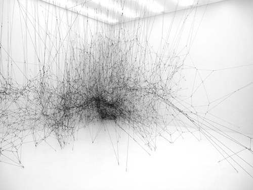 A sculptural installation made to emulate the morphology of spider webs