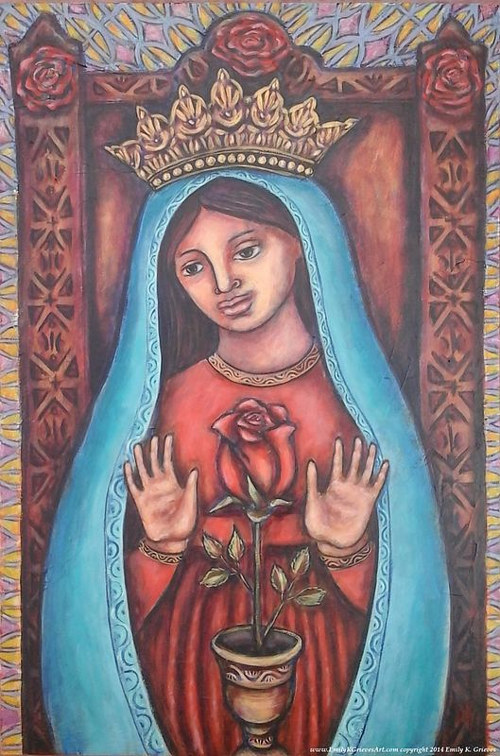 A painting of a female saint in front of a rose