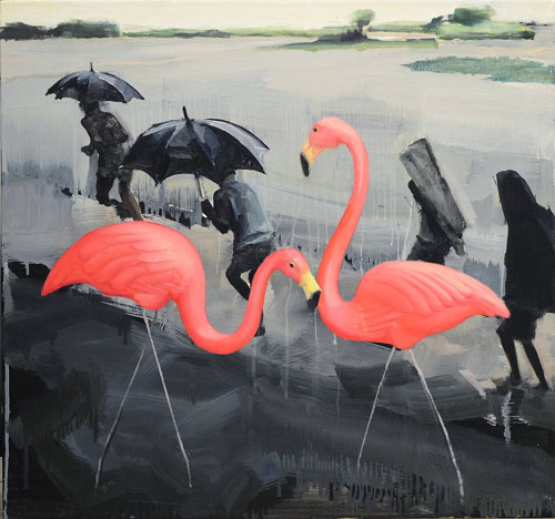 A painting of two pink flamingos in front of a grey and rainy scene