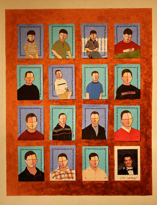 A quilt of portraits in the style of a yearbook page