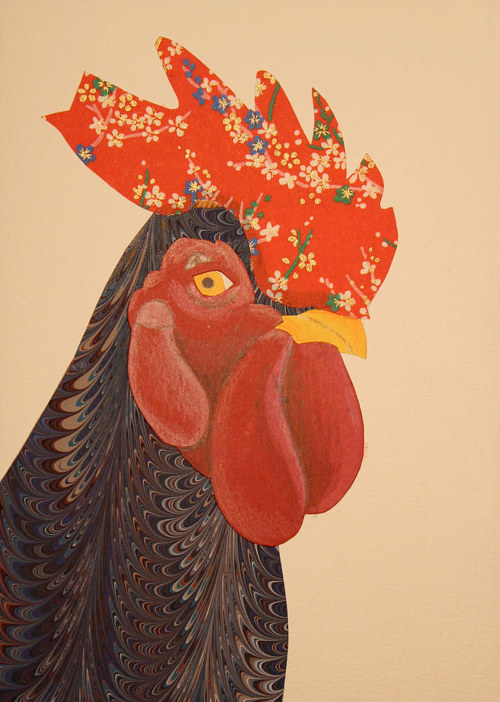 A collaged image  of a rooster