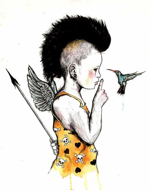 An ink drawing of a punk cupid talking to a hummingbird