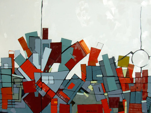 An abstracted painting of an aerial view of a city, in grey and red tones