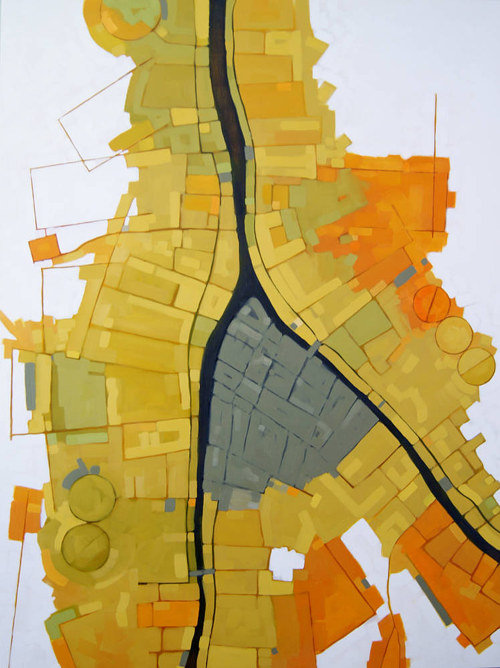 An aerial view of a yellow city