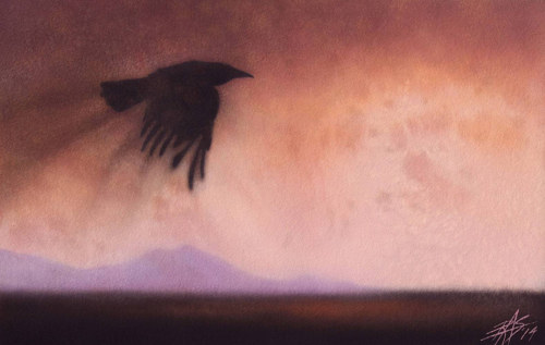 A painting of a crow flying over an estuary at dusk