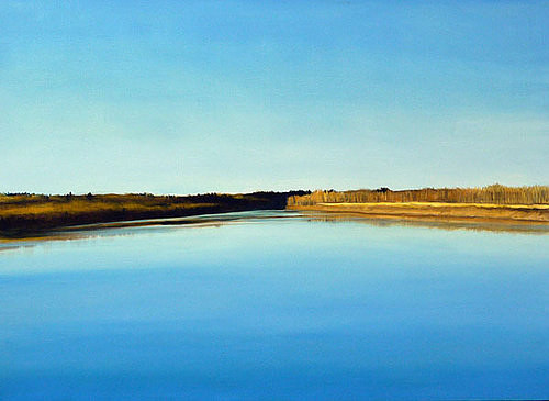A painting of a Northern Saskatchewan lake