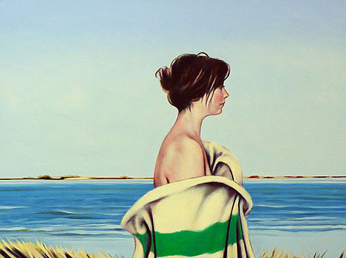 A painting of a woman wrapped in a Hudson's Bay Company blanket on a beach