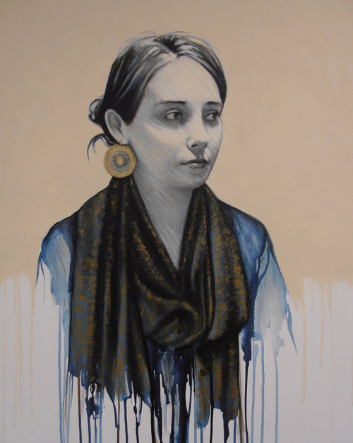 A mixed media image of a woman wearing a blue pashmina scarf