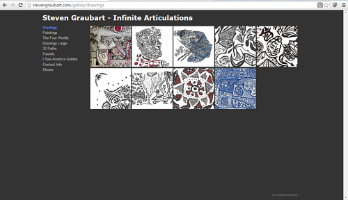 A screen capture of Stephen Graubart's drawings on his website