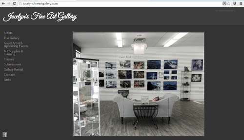 The website front page for Jocelyn's Fine Art Gallery