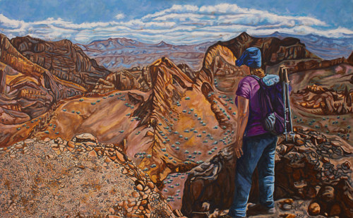 A painting of a woman wearing hiking gear looking over the edge of a canyon