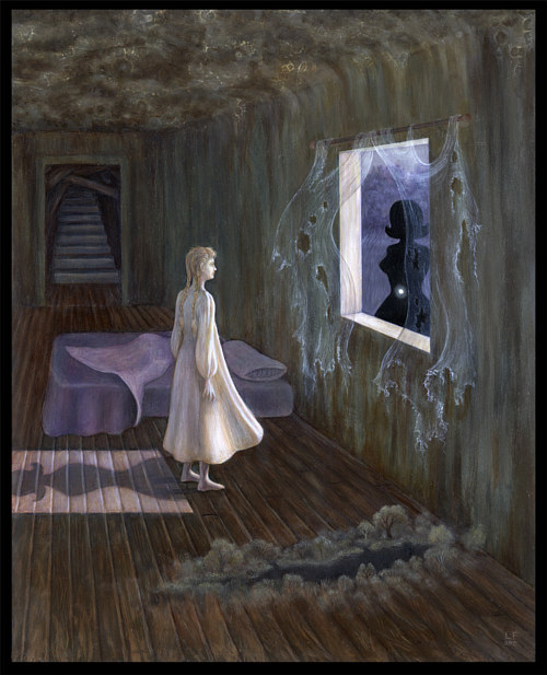 A painting of a woman standing and looking at a ghostly figure in the window