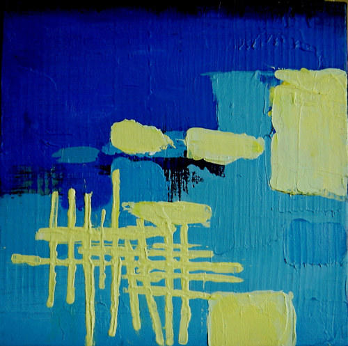 An abstract painting with blocks of green and blue paint
