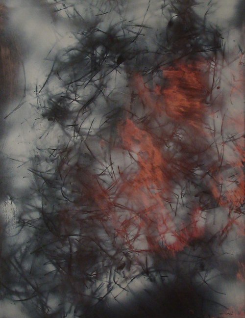 An abstract painting using thin brush marks of oil on paper