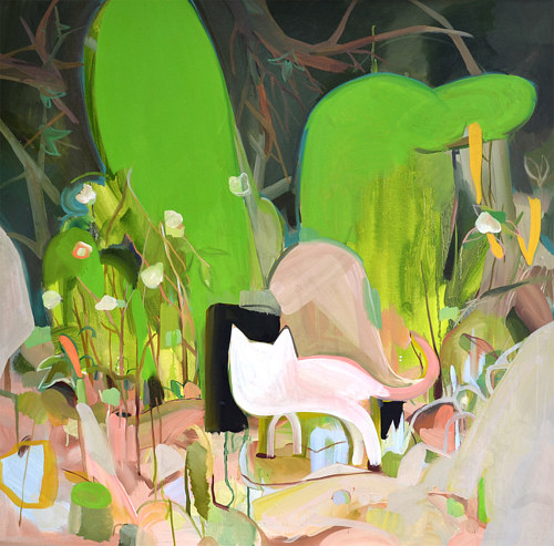 An abstracted painting of a small animal in a forest