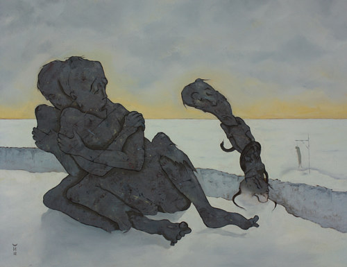 A painting of two surreal grey figures in a winter landscape