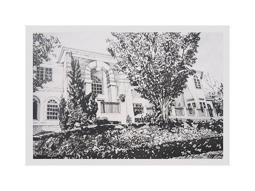 An ink drawing of the exterior of a private home