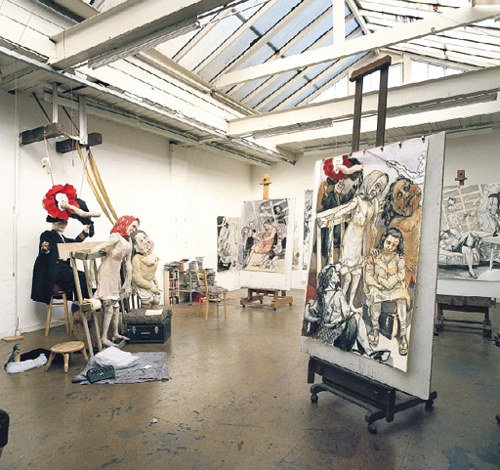A photo of several works in Paula Rego's studio