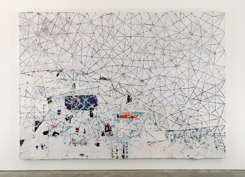 A painting consisting of collage and lines on a primarily white painting