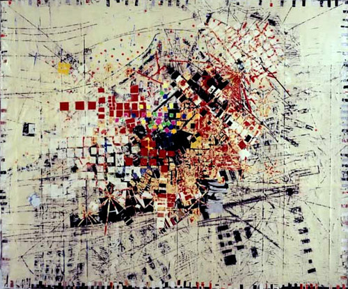 An abstract painting expressing a city's appearance from aerial view