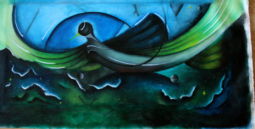 An abstracted painting of a bird with deep blue paint colours