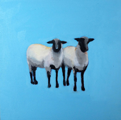 A painting of two sheep on a monochromatic blue background