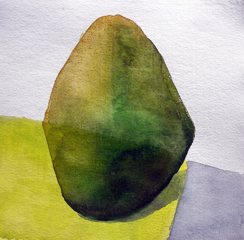 An abstracted watercolour painting of a single shrub