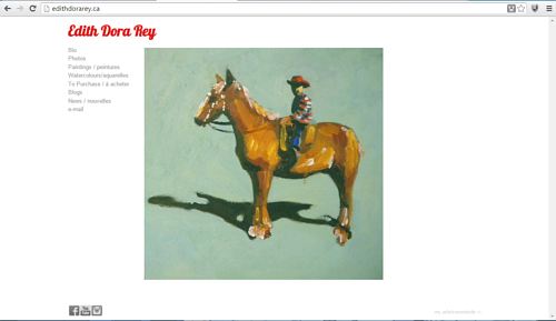 A screen capture of Edith Dora Rae's art website