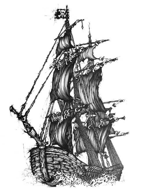 A black and white drawing of a stylized tallship